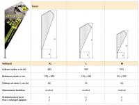 Pruty Vlajka Razor - tabulka rozměrů